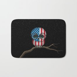 Baby Owl with Glasses and American Flag Bath Mat
