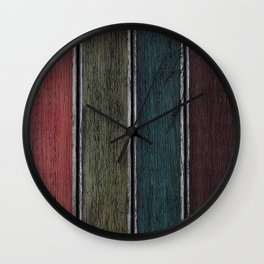 Rainbow Planks Silver Wall Clock