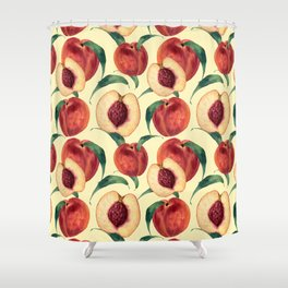 Watercolor sweet peaches Shower Curtain