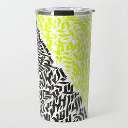 black and yellow calligraffiti pattern Travel Mug