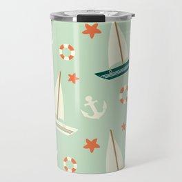 cute colorful sailboat pattern with anchor and lifebuoy Travel Mug