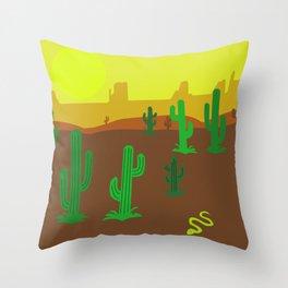 Cactos in desert Throw Pillow