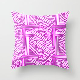 Sketchy Abstract (Magenta & White Pattern) Throw Pillow