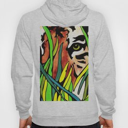 Tiger Eyes Looking Through Tall Grass By annmariescreations Hoody