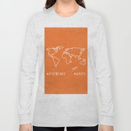 Adventure Map - Retro Orange Long Sleeve T-shirt