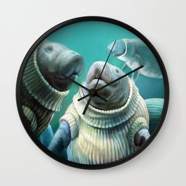 Sweater Manatees Wall Clock