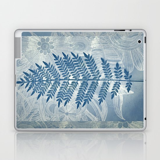 Jacaranda Leaf in Blue, Cream, Grey Laptop & iPad Skin