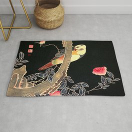 Parrot on the Branch of a flowering Rose Bush - Japanese Vintage Woodblock Painting Rug