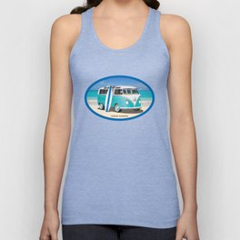 Teal Hippy Bus with Surfboard Oval Unisex Tank Top