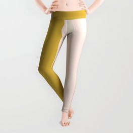 Blush Pink, Navy Blue, Mustard Yellow, and Champagne Big Stripes Pattern Leggings