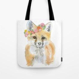 Fox Floral Watercolor Painting Tote Bag