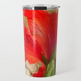 Back Of A Red Hibiscus Flower Against Stone Travel Mug