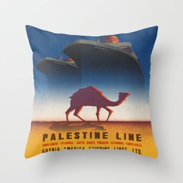 Vintage poster - Palestine Line Throw Pillow
