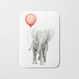 Baby Elephant Watercolor Red Balloon Nursery Decor Bath Mat