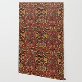 Flowery Boho Rug III // 17th Century Distressed Colorful Red Navy Blue Burlap Tan Ornate Accent Patt Wallpaper