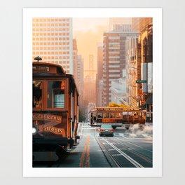 California Street Cable Cars Sunrise Bay Bridge Art Print