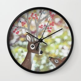white tailed deer, tufted titmice, & cherry blossoms Wall Clock