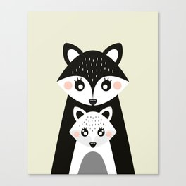 Scandinavian Mother and baby Fox Canvas Print