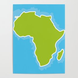 map of Africa Continent and blue Ocean. Vector illustration Poster