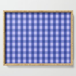 Classic Gingham Pattern Blue Serving Tray