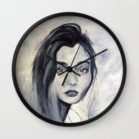 karen hallion Wall Clocks featuring Karen by Pamela Schaefer