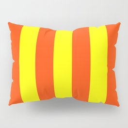 Bright Neon Orange and Yellow Vertical Cabana Tent Stripes Pillow Sham