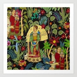 Frida's Garden, Casa Azul Lush Greenery Frida Kahlo Landscape Painting Art Print