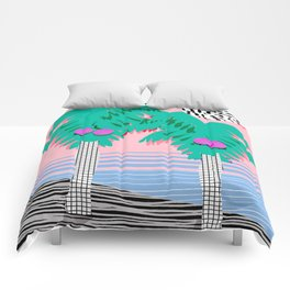 Most Definitely - palm tree throwback memphis style retro art print 80s 1980 neon  palm springs Comforters