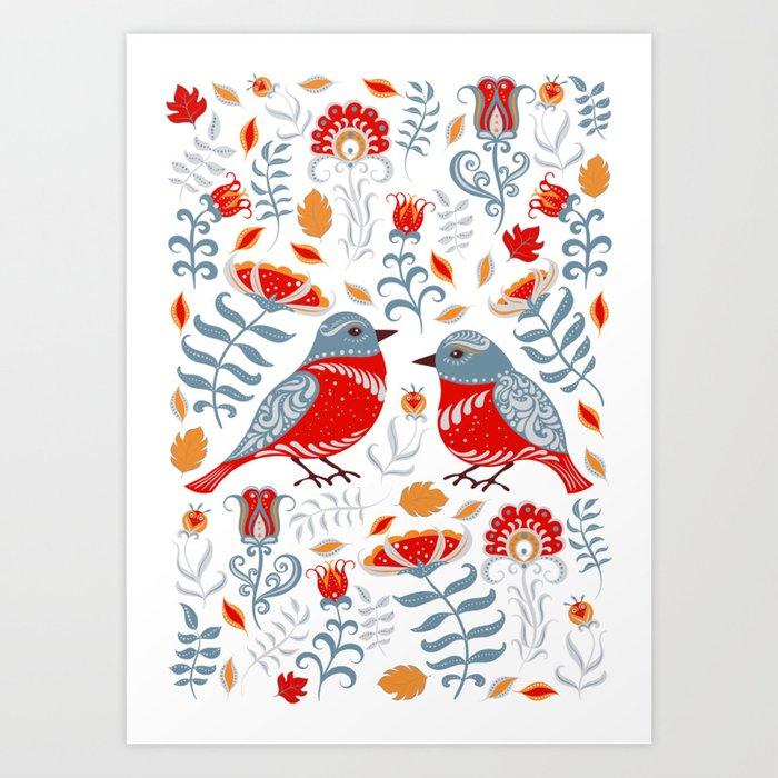 Birds and flowers. Floral ornament. Folk art. Kunstdrucke