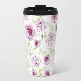 Peony Pattern - Watercolor and ink Travel Mug