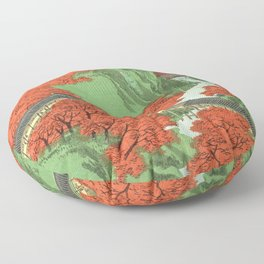 Hiroshige Temple & Mountains Floor Pillow