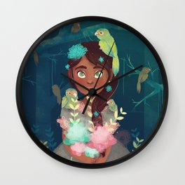 The girl and the chocoyos Wall Clock