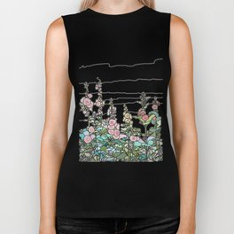 flowers and leaves on white background Biker Tank