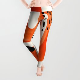 Mid Century Modern abstract Minimalist Fun Colorful Shapes Patterns Orange Brush Stroke Watercolor Leggings