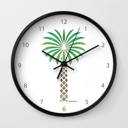 Tribal Canary Date Palm Tree Wall Clock