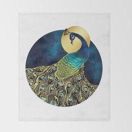 Golden Peacock Throw Blanket