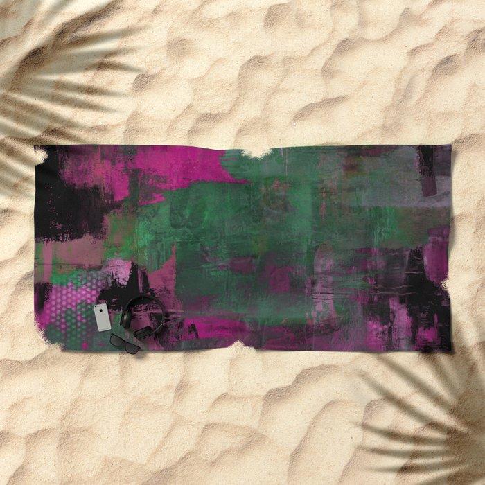Deep Purple - Abstract, textured painting Beach Towel