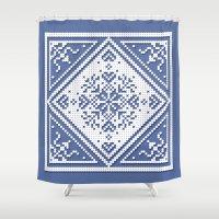scandinavian Shower Curtains featuring Scandinavian Patterns I by Fischer Fine Arts