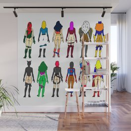 Superhero Butts - Girls - Row Version - Superheroine Wall Mural