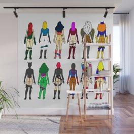 Superhero Butts - Girls - Row Version - Superheroine Wall Mural