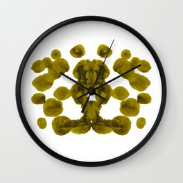 Olive Green Rorschach Test Wall Clock