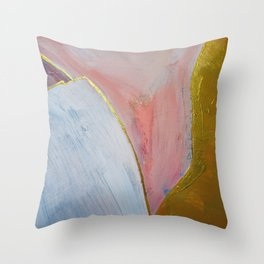 Bliss: A pretty, minimal, abstract mixed-media piece in pink white and gold by Alyssa Hamilton Art Throw Pillow