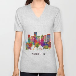 Norfolk Virginia Skyline Unisex V-Neck