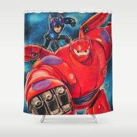 big hero 6 Shower Curtains featuring Big Hero 6 by Salma Emara