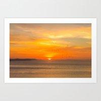 Sunset Coast with Orange Sun and Birds Art Print