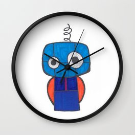Cute Little Blue Robot Wall Clock