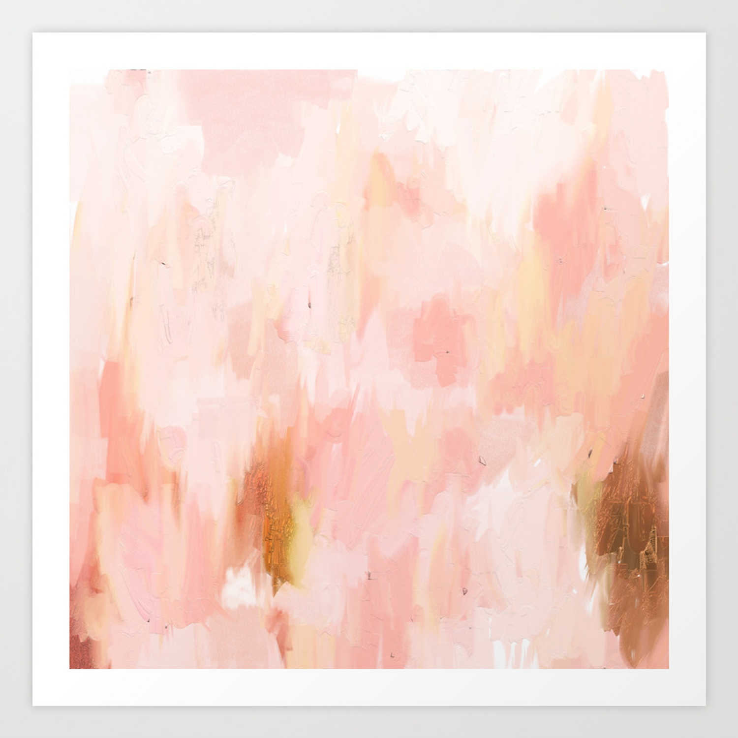 Abstract Minimal Peach Millennial Pink White And Gold Painting Art Print By Julestillman Society6