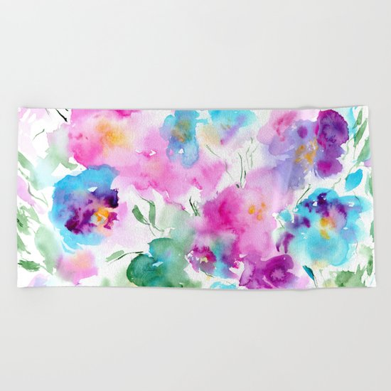 Floral abstraction #4 || watercolor Beach Towel