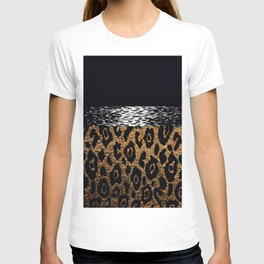 ANIMAL PRINT CHEETAH LEOPARD BLACK WHITE AND GOLDEN BROWN T-shirt