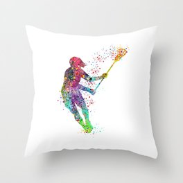 Lacrosse Girl Colorful Watercolor Sports Art Throw Pillow